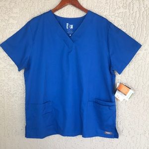 ICU by Barco, royal blue scrub top. Size XL.